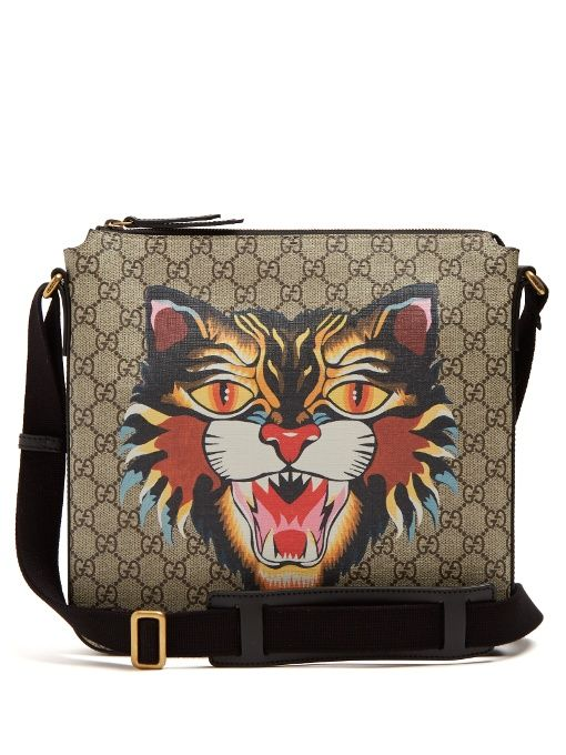bb6e1f153a GUCCI Angry Cat-Print Gg Supreme Messenger Bag.  gucci  bags  shoulder bags   leather  canvas  lining