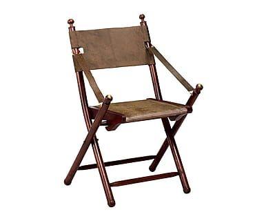 silla plegable en madera y cuero tarlton marrn