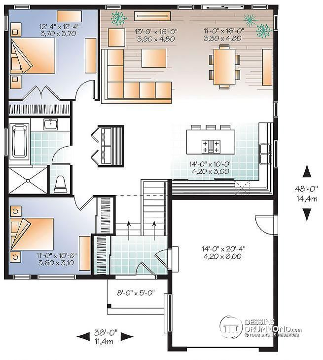 W3288 - Plan de maison style transitionnel, entrée split, grande