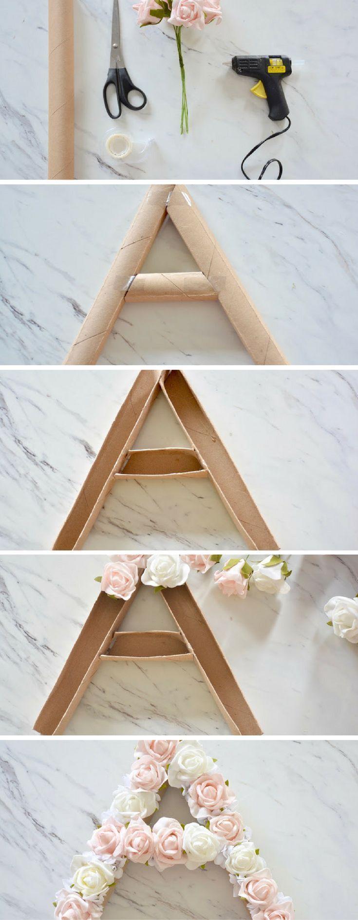 DIY floral monogram - make this fun and simple summer decor! #DIYHo ...#decor #diy #diyho #floral #fun #monogram #simple #summer