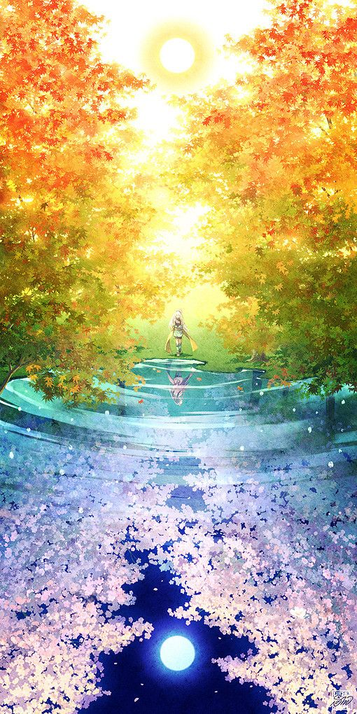COLOUR SCENERY This Is A Very Cute Anime Scenery Wallpaper It Shows Lovely Reflection Of The Forest In Water Night