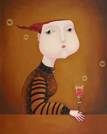 "Saatchi Art Artist Jiahui WU; Painting, """" A Glass of Mellow Wine """" #art"