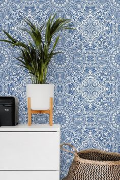 Moroccan Style Removable Wallpaper Blue Moroccan Tile Peel Etsy Moroccan Wallpaper Blue Moroccan Tile Removable Wallpaper