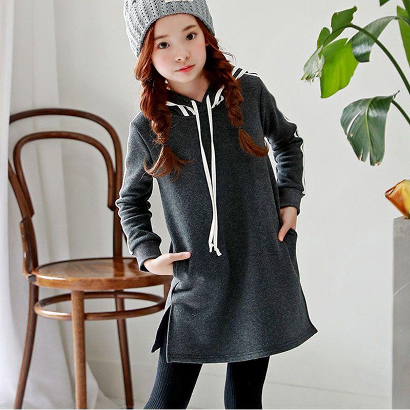 5b7a5e463 Cheap Vestido de invierno con capucha para niñas de 10 a 12 años de ...