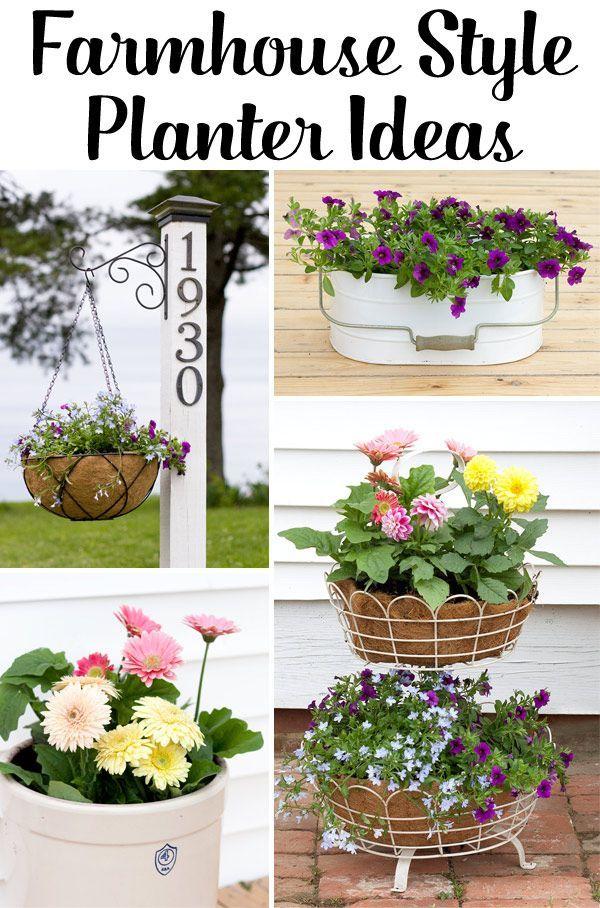 5 easy farmhouse planter ideas farmhouse gardenfarmhouse decorfarmhouse - Farmhouse Garden Decor