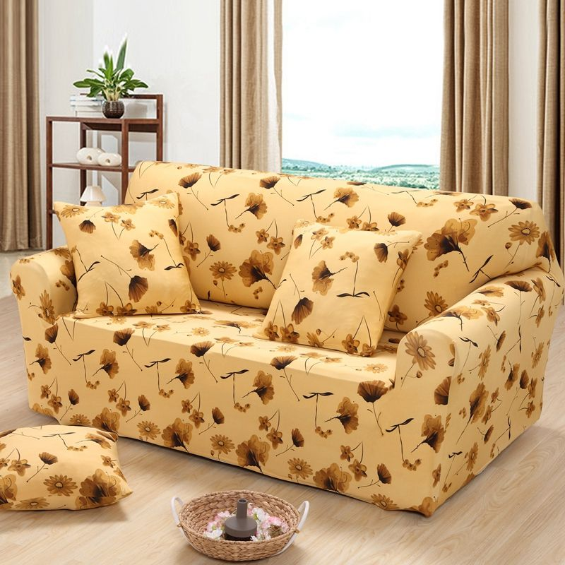 Yellow Color Plant Soft Elastic Sofa Cover Corner Single Protector Double Four 3 Seater Covers Slipcovers Anti Static