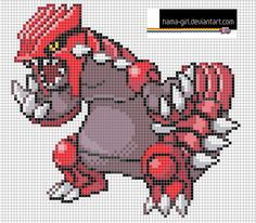 Groudon By Hama Girl Pixel Art Grid Pokemon Cross Stitch