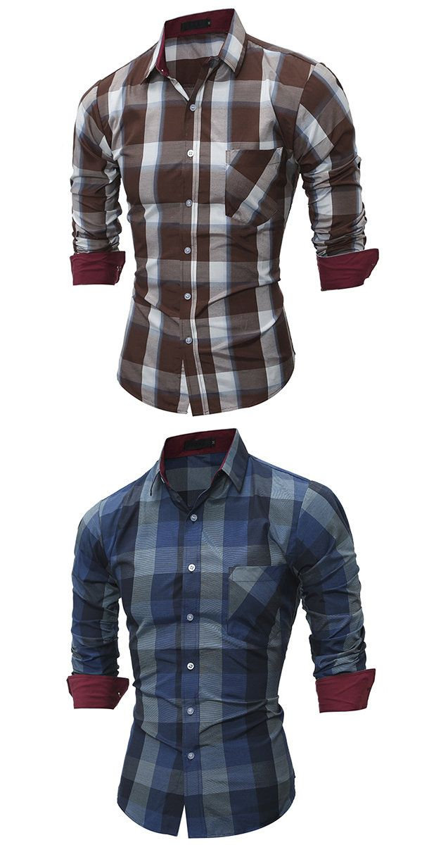 Slim Fit Checked Long Sleeve Casual Formal Dress Shirt For Men
