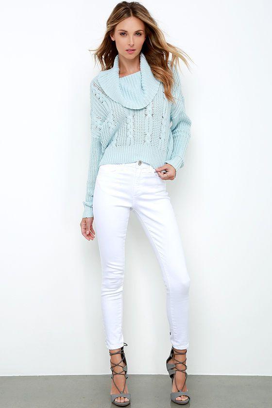 Somedays Lovin Ralphie Light Blue Crop Sweater In 2018 Fall