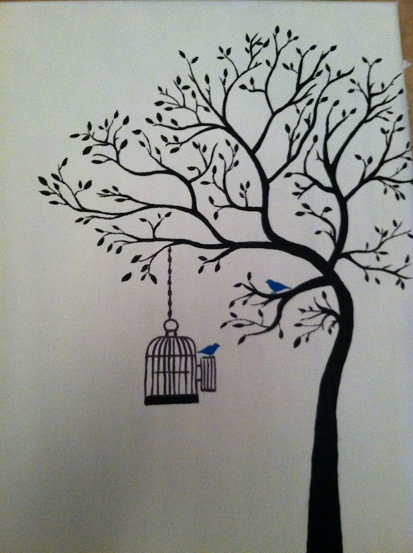 Tree Painting With Birdcage Nice Wall Mural Pain Painting