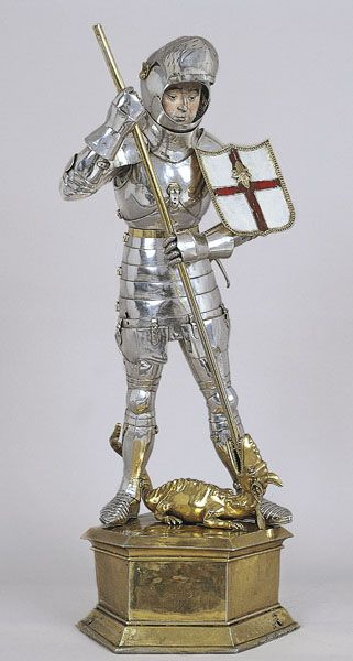 Medieval 15th Century St George and the Dragon - Silver and Gold - Comes from the chapel of the Palace of the Generalitat of Catalonia in Barcelona - ca. 1420-50,( Museum Nacional d'Art de Catalunya, Barcelona)