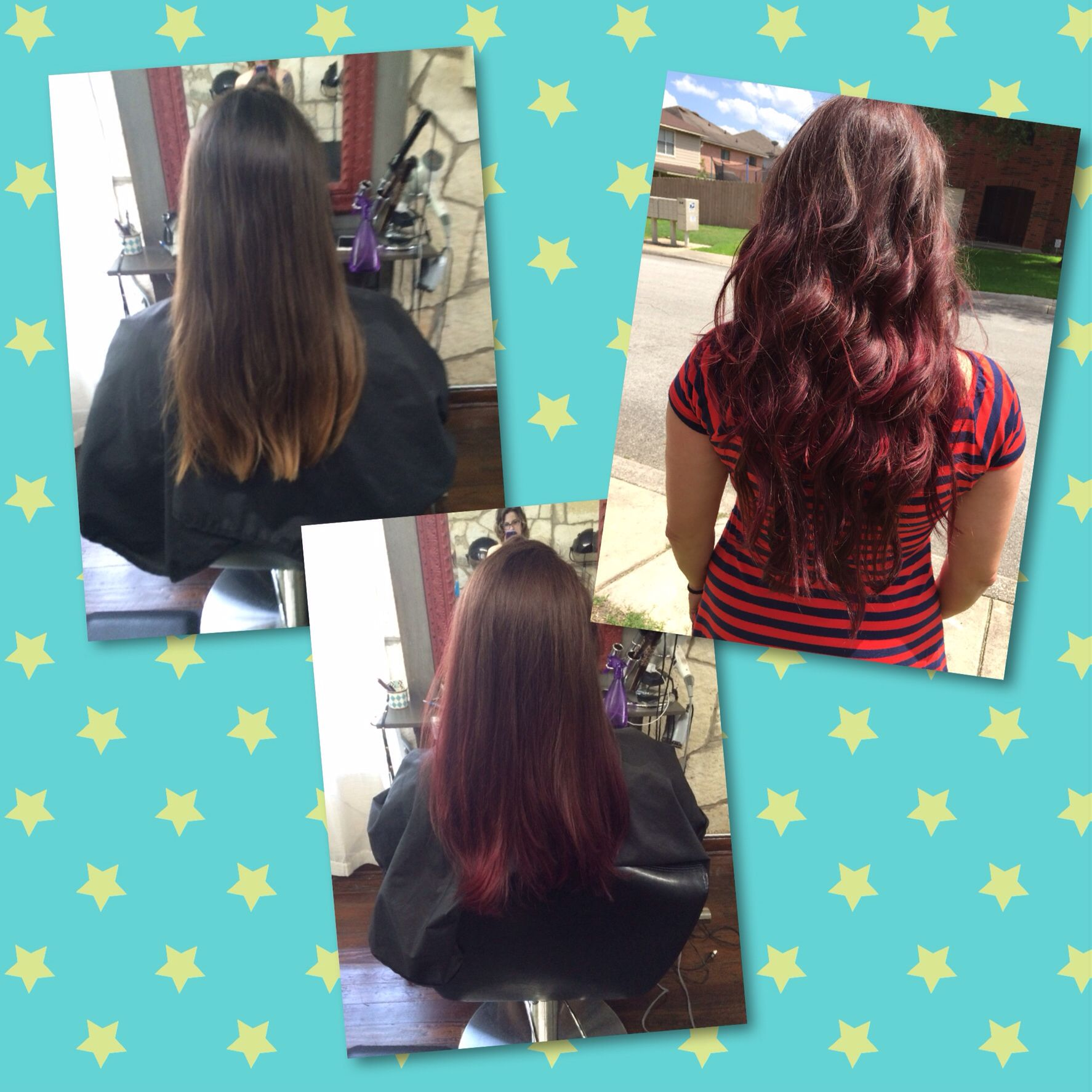 Hair by Caitlin  Beautiful mixed berry (reds and violets) ombré!  Before and after J Gibson Salon Helotes