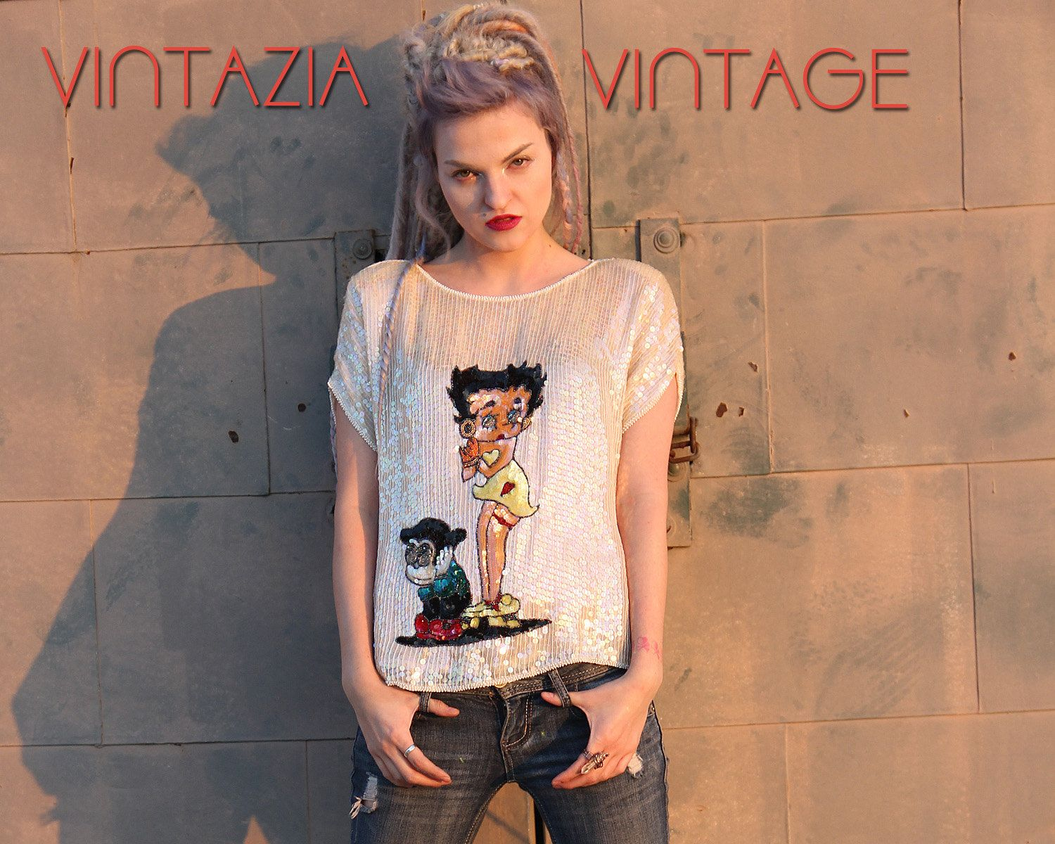 Vtg 70s Betty Boop Le Mieux Sequin Beaded Top by VINTAZIAVintage on Etsy