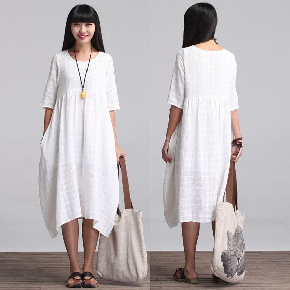 Loose Fitting Long Maxi Dress - Summer Dress in White - Short Sleeve ...