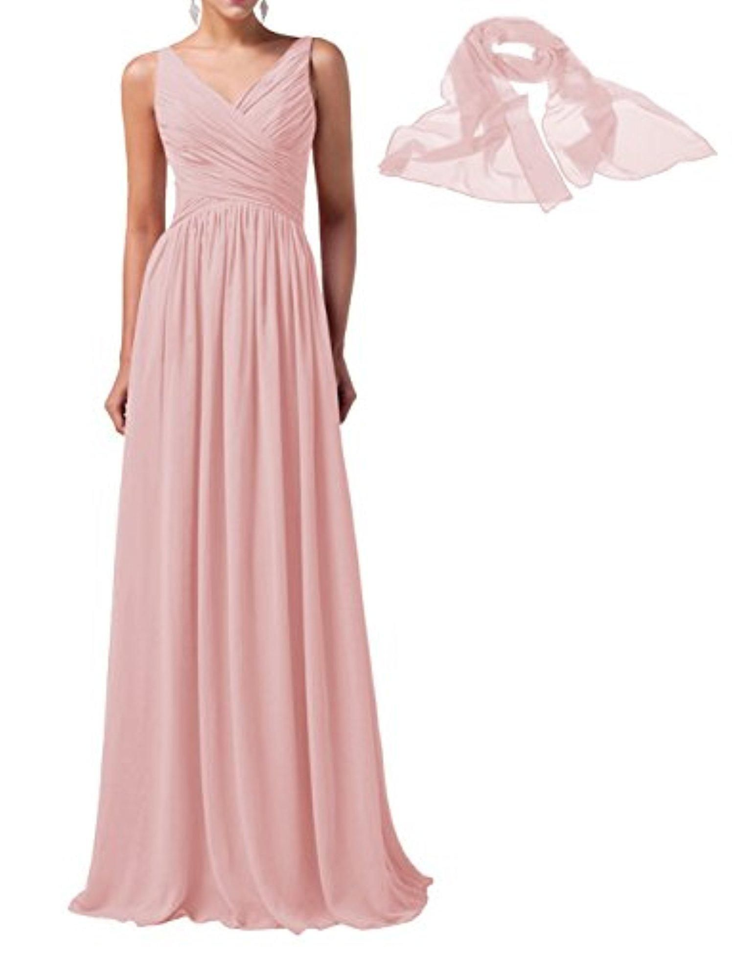 Tideclothes long chiffon bridesmaid dress vneck prom dress evening