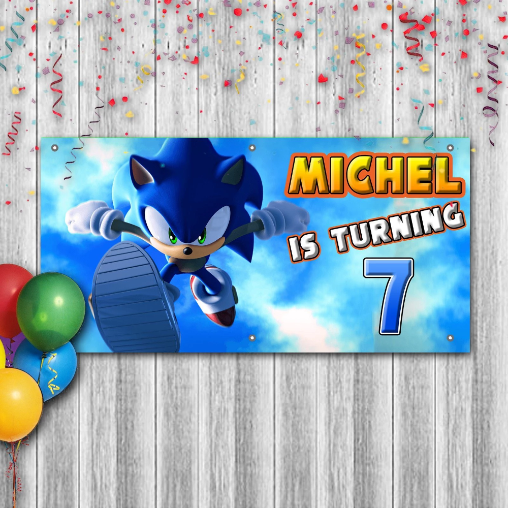 Personalized Sonic The Hedgehog Birthday Banner Weatherproofing Cuztom Threadz In 2020 Personalized Birthday Banners Birthday Banner Hedgehog Birthday
