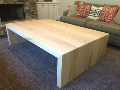Custom Ash Lumber Wood Waterfall Coffee Table Coffee Table