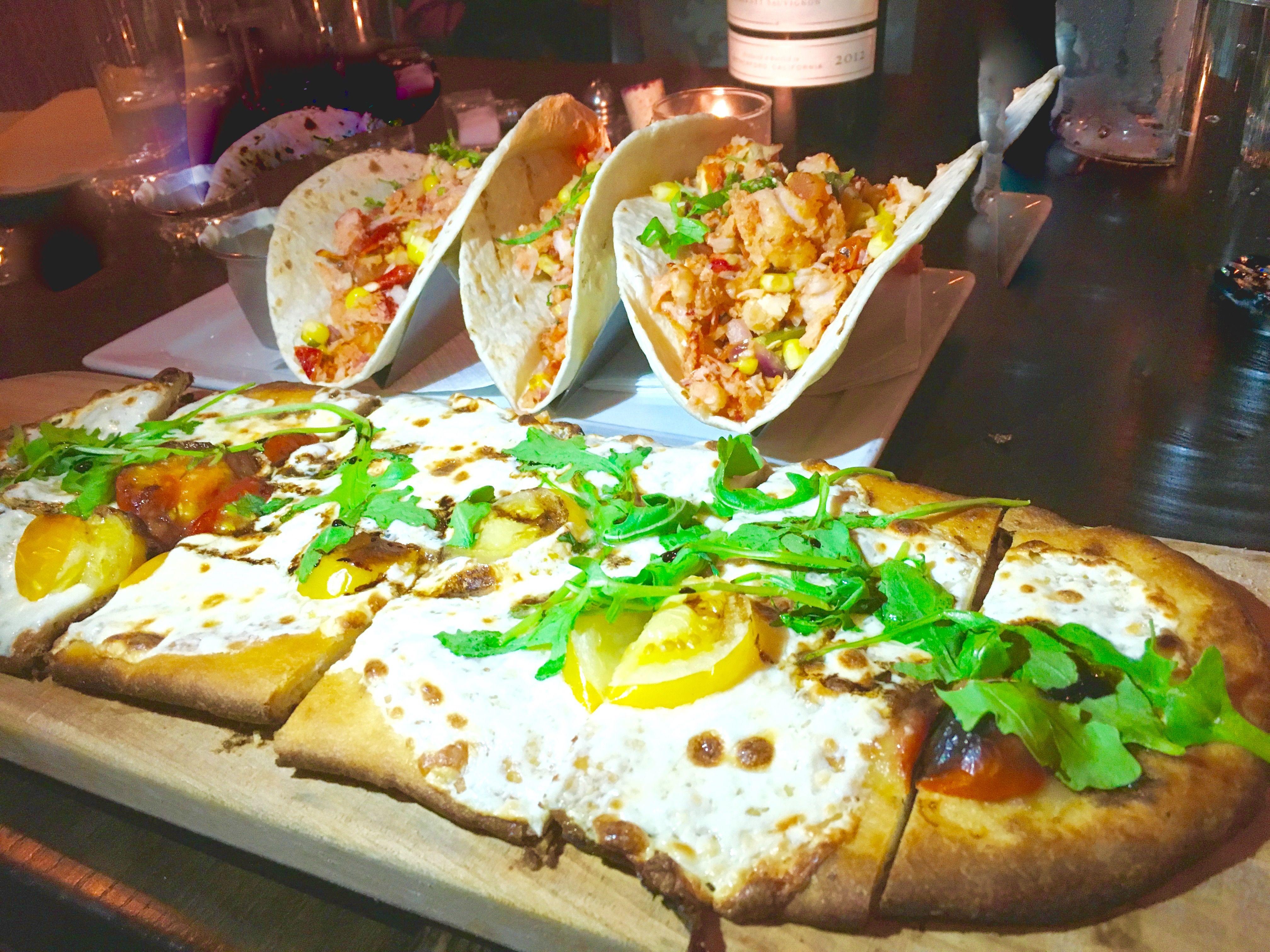 Juniper Bar New York... Bite of the Best  ...Mediterranean flatbread ($13) and lobster tacos