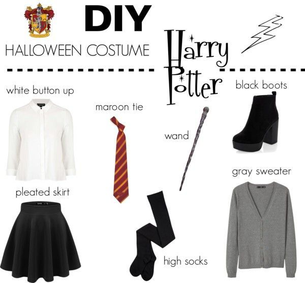 Diy Last Minute Halloween Costume Outfit Ideas Harry Potter Hermione Hogwarts Student C Harry Potter Halloween Costumes Easy Costumes Harry Potter Outfits