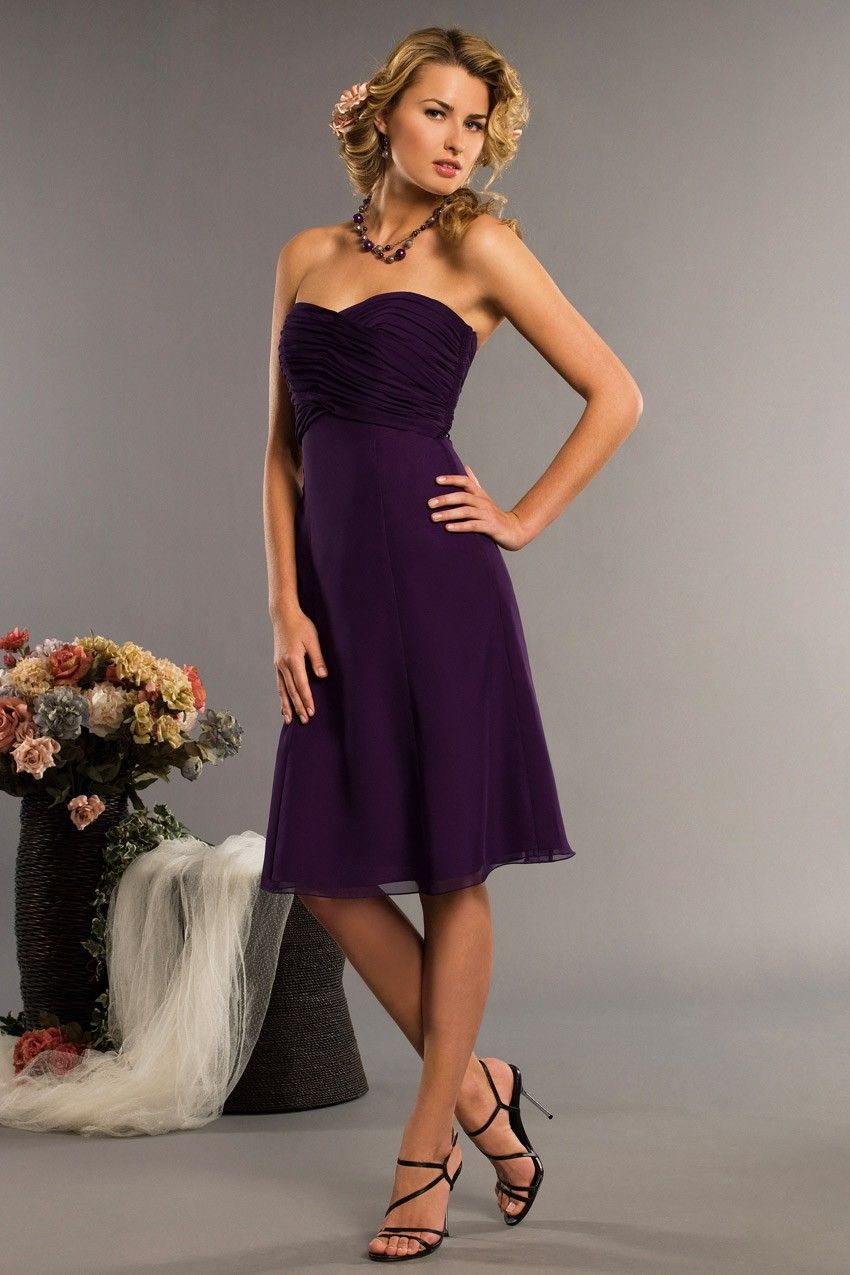 a1d68e423bd61 Vogue Purple Sweetheart Wrinkled Two-double Tea Length A-line Bridesmaid/Evening  Dress In UK - Wedding Party Dresses