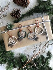 Woodland Christmas Ornaments, Nordic Snowfall Ornaments, Modern Winter Decor, Rustic Holiday,...