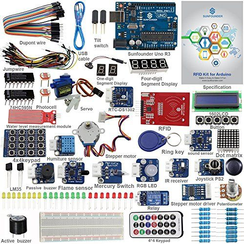 Sunfounder Rfid Starter Kit For Arduino Uno R3 Mega Nano Circuit Board Jumper Wires Sensors Breadboard Electronics V20 Learn Mo Arduino Arduino Beginner Kit