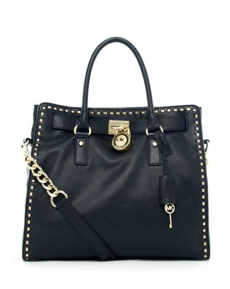 Michael Michael Kors Hamilton Large Tote Black Leather With Golden Studded  Trim. Some less than c83b3abd4ad