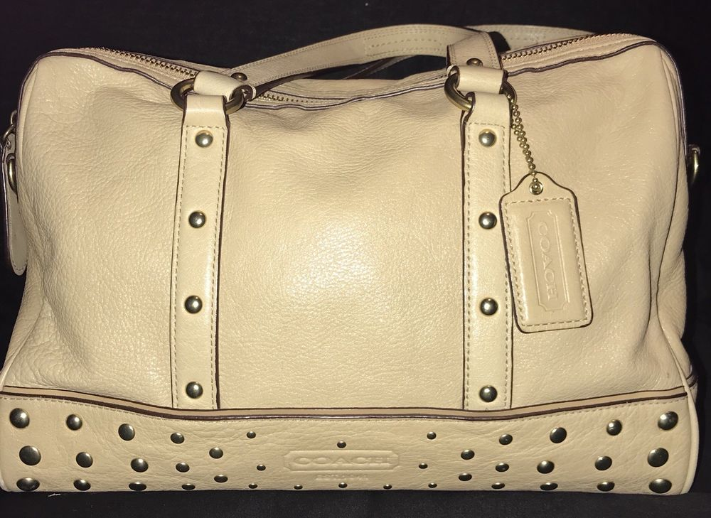 buy online buying cheap finest selection COACH NANCY Beige Leather Studded Satchel Purse Bag Z20882 ...