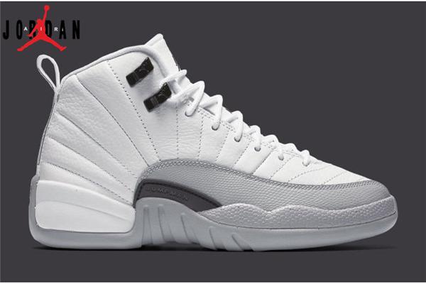 0966cfa9865952 Men s Women s Air Jordan 12 GS Barons Basketball Shoes White Black-Wolf Grey