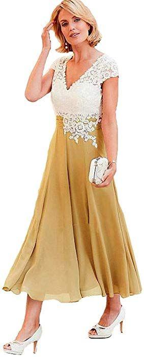 de24933e03 Fashionbride Women s V-Neck Short Sleeve Evening Gowns Mother of The Bride  Dresses Tea Length