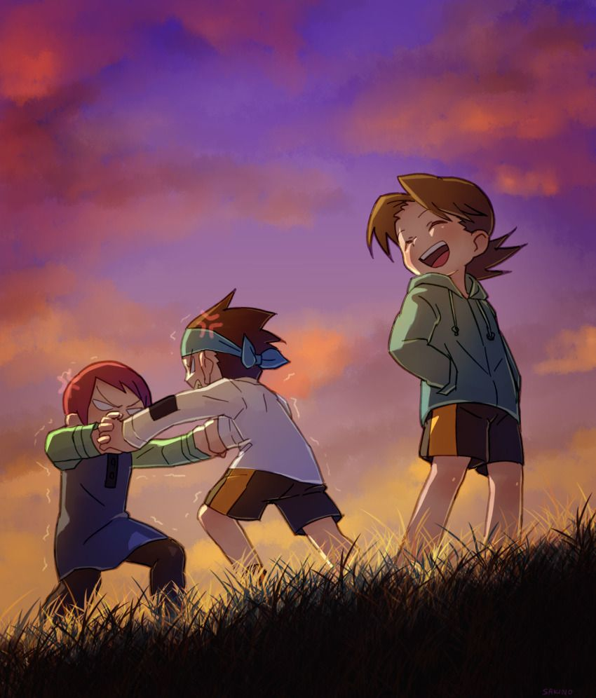 Anime Picture Search Engine 1girl 2boys D Anger Vein Angry Brothers Casual Child Closed Eyes Evening Field Fighting Friends Gra Mega Man Art Mega Man Anime