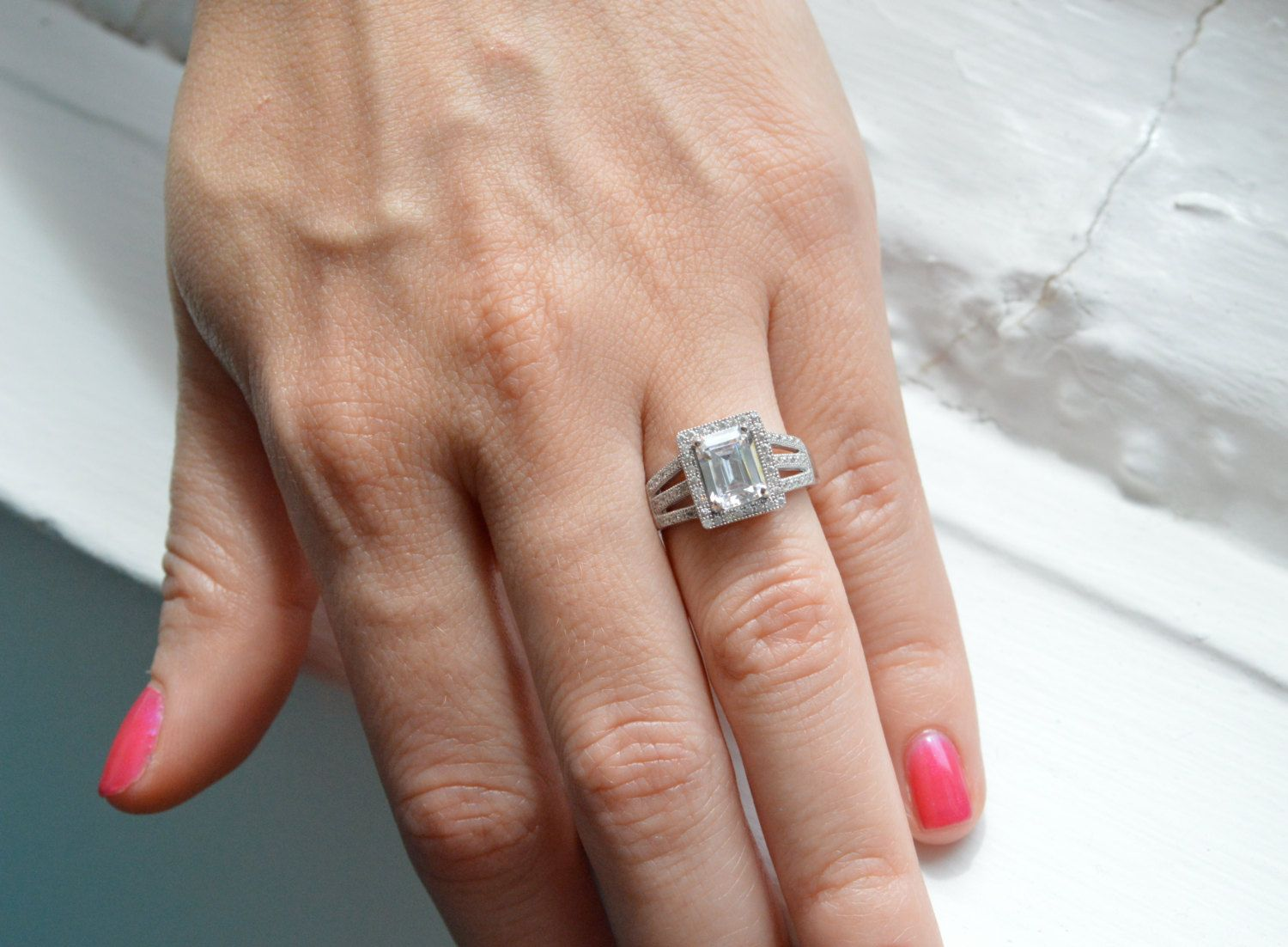 Emerald Cut Engagement Ring Prong Set Engagement Ring Cubic