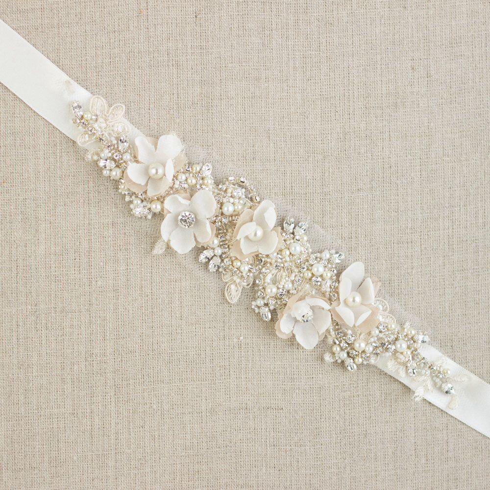 Pearl belt for wedding dress  Wedding belt Bridal belt Wedding dress belts sashes Floral belt