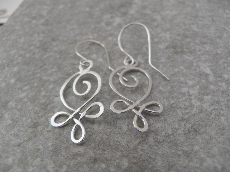 Celtic Heart Earrings, Sterling Silver Dangles, Silver Wire Earrings ...