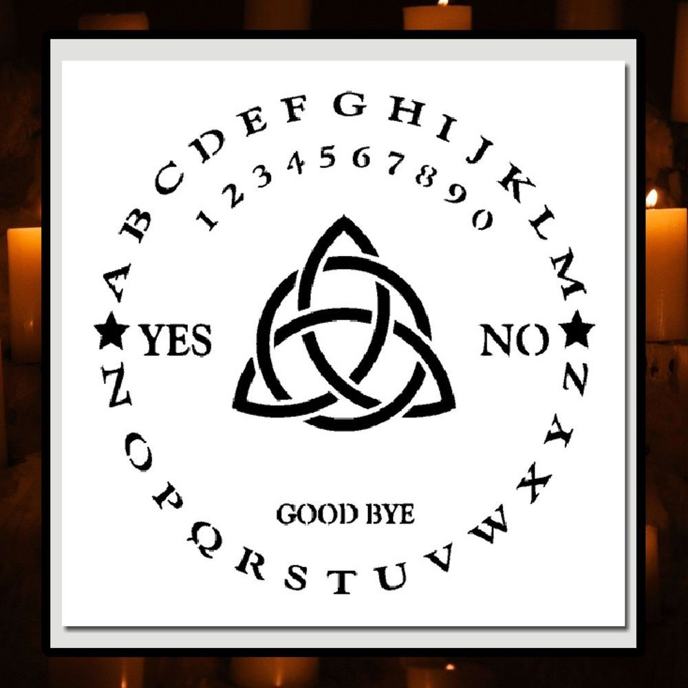 12 x 12 stencil roundcircle ouija board wtriquetra witchghost round ouija board with triquetra symbol in center clear in color for optimal clarity im happy to help buycottarizona Gallery