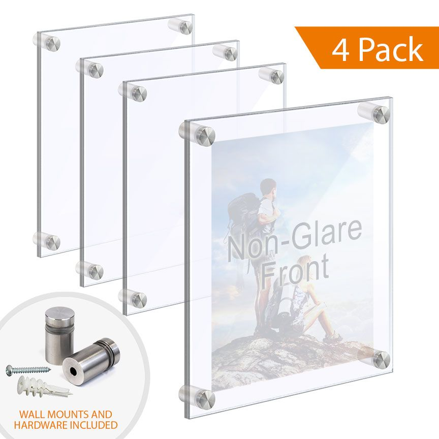 Acrylic Photo Frames With Standoffs Clear Non Glare Acrylic Set Qty 4 In 2020 Acrylic Picture Frames Acrylic Photo Frames Picture Frames