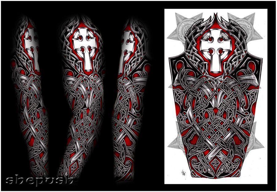 nathaniel celtic full sleeve by shepush on deviantart tattoos pinterest deviantart. Black Bedroom Furniture Sets. Home Design Ideas