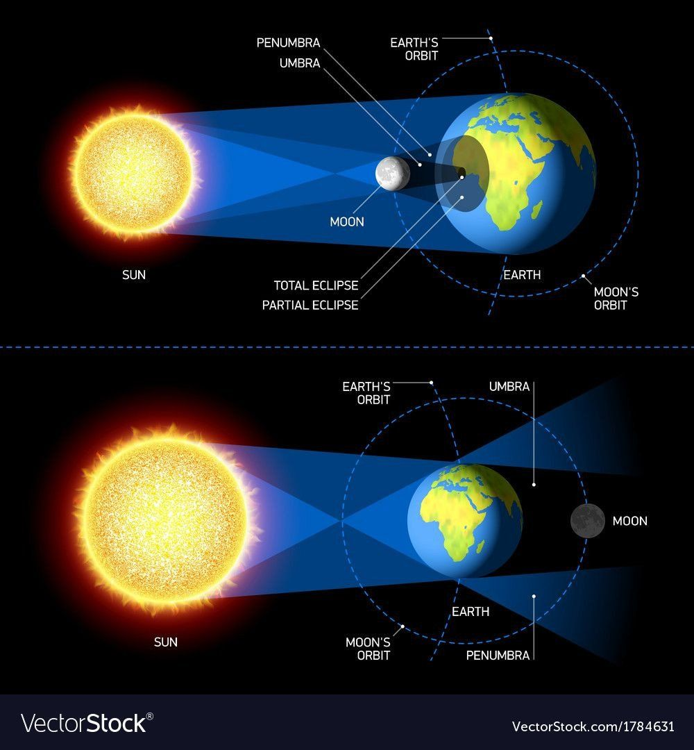 Solar And Lunar Eclipses Worksheet Solar And Lunar Eclipses Vector Image On In 2020 Solar Energy For Kids Solar Energy Kits Solar And Lunar Eclipse