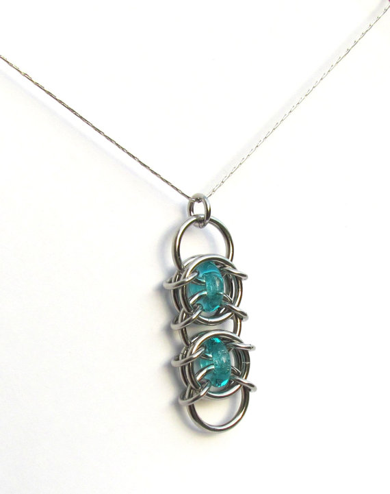 Turquoise Glass Pendant Chain Maille Pendant by XairianMaille, $13.00
