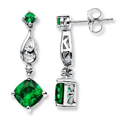 159b9055ad033 Lab-Created Emerald 1/20 ct tw Diamond Sterling Silver Earrings ...