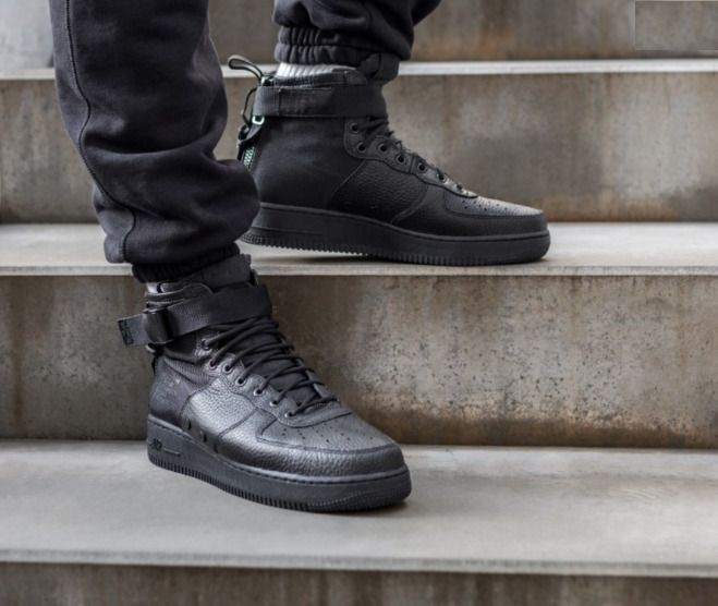 Nike SF AIR FORCE 1 MID Men s Sneakers 917753-005 - All Black size 9.5 10   fashion  clothing  shoes  accessories  mensshoes  athleticshoes  ad (ebay  link) 5dfeaaa70