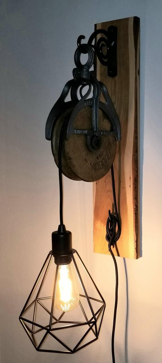 Live Edge Cherry Pulley Light Etsy In 2020 Pulley Light Pulley Light Fixture Pulley Lamps