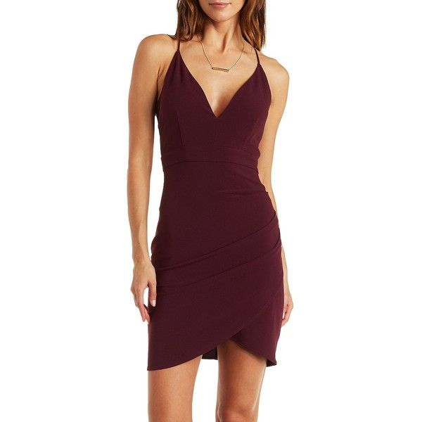 5ecdb8f242 Charlotte Russe Dark Purple Plunging Strappy Caged Back Asymmetrical ...
