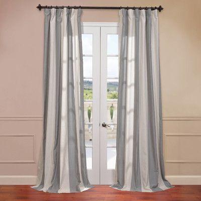 """Half Price Drapes Del Mar Linen Blend Stripe Semi-Opaque Single Curtain Panel Size: 50"""" W x 84"""" L, Color: Gray"""