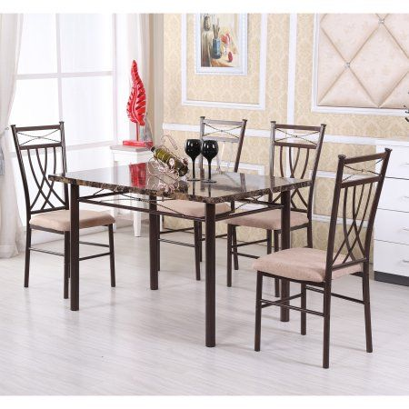 Hodedah 5 Piece Dining Set Walmart Com Kitchen Dinette Sets Kitchen Table Settings Kitchen Table Marble