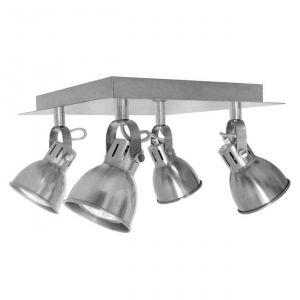 Plafonnier rétro industriel 4 spots Nomade Luminaire en métal gris