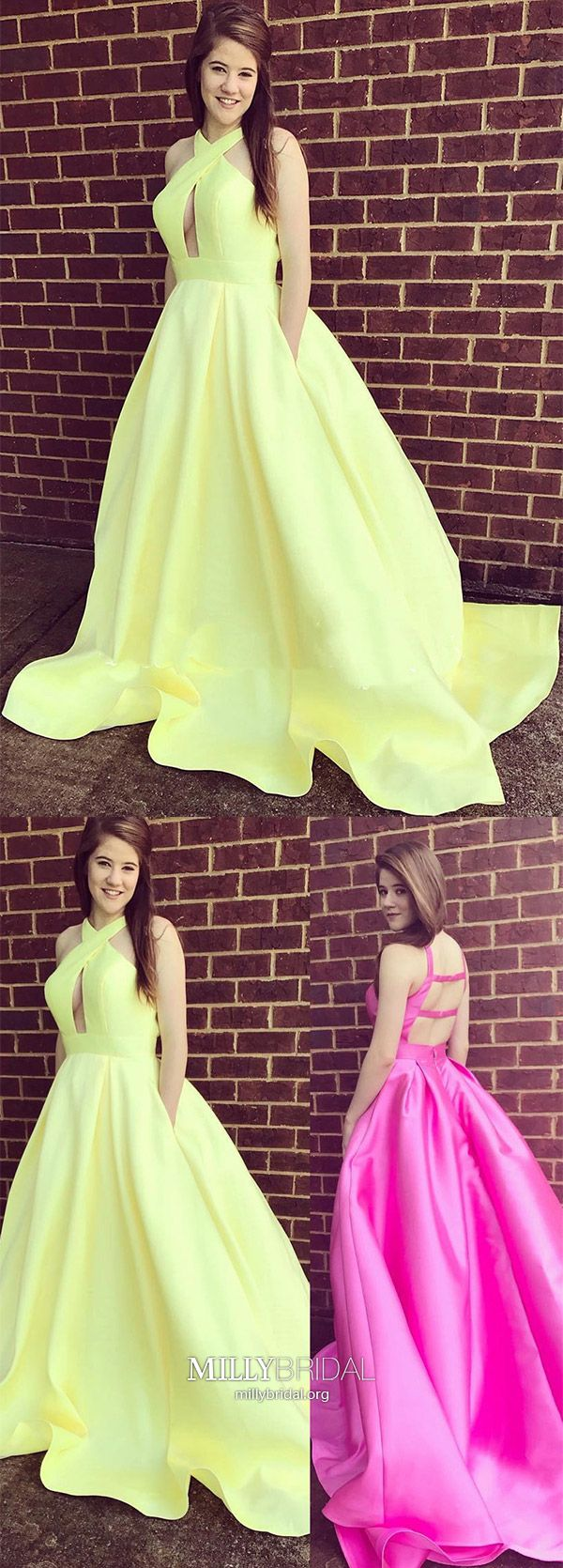 Ball gown prom dresses uniquelong prom dresses with pocketsyellow