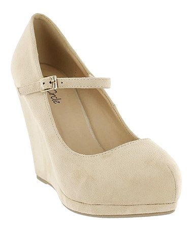 6c09b77f3bf Look what I found on #zulily! Nude Kanissa Mary Jane Wedge ...