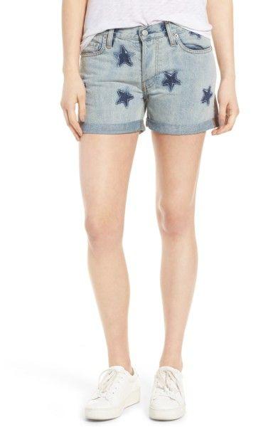 Main Image - Rails Logan Cuffed Denim Shorts (Medium Wash Stars)