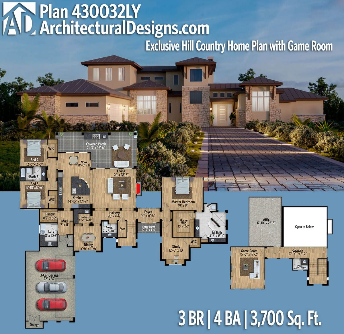 Plan 430032LY: Exclusive Hill Country Home Plan With Game